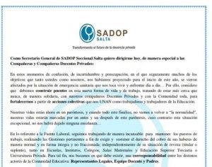 Lee más sobre el artículo SADOP Salta llevó a cabo un Plan de Trabajo para registrar la situación actual de los Docentes Privados de nuestra Provincia y establecer acciones en consecuencia
